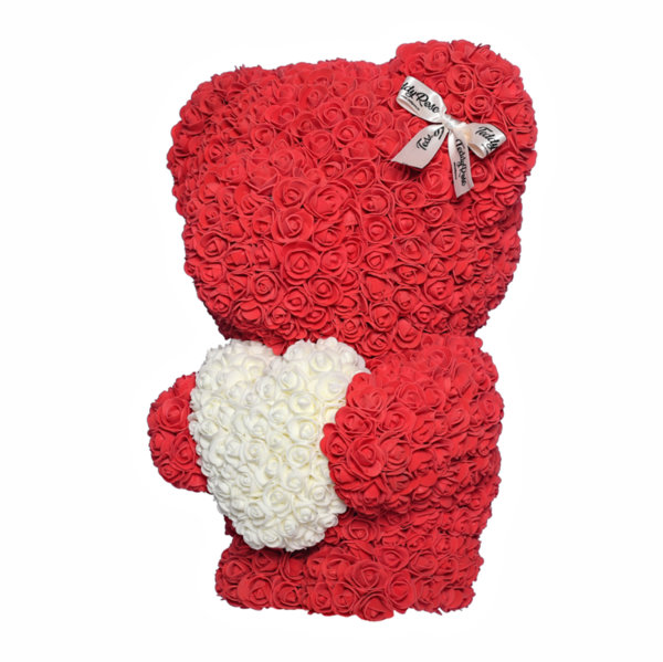 Teddy Rose Standing Heart (Love red and white heart) Available for  USA.